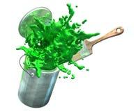 Illustration 3d der grünen Farbe von Farbeimer sprengend Stockbilder