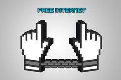 Illustration 3D der Idee des Protestes von Aufhebung der Netzneutralität vektor abbildung