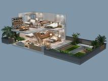 Illustration 3d der isometrischen Ansicht eines Landhauses Lizenzfreie Stockfotografie