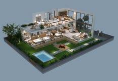 Illustration 3d der isometrischen Ansicht eines Landhauses Stockbild