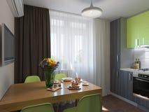 Illustration 3D der Küche mit den hölzernen und grünen Fassaden Stockbild