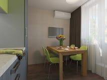 Illustration 3D der Küche mit den hölzernen und grünen Fassaden Stockbilder