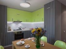 Illustration 3D der Küche mit den hölzernen und grünen Fassaden Stockfotos