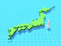 Illustration 3D der Karte von Japan Lizenzfreie Stockbilder