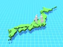 Illustration 3D der Karte von Japan Lizenzfreies Stockbild