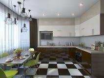 Illustration 3d der modernen Küche in den braunen und beige Tönen Stockbild