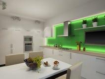 Illustration 3d der modernen weißen Küche Stockfotografie