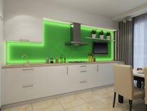 Illustration 3d der modernen weißen Küche Lizenzfreies Stockbild