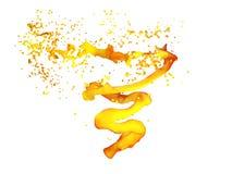 Illustration 3D der Orangensaftturbulenz, Saftstrudel Saftiger Twistertornado lokalisiert auf Weiß Stockfoto