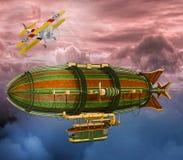 Illustration 3D der Retro- Zeppelin-und Flugzeug Steampunk Szene Stockfotos
