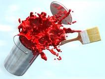 Illustration 3d der roten Farbe von Farbeimer sprengend Lizenzfreie Stockfotografie