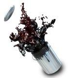 Illustration 3d der schwarzen Farbe von Farbeimer sprengend Stockbild