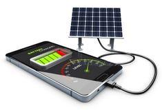 Illustration 3d der Telefonaufladung und der Solarbatterie Stockfotos