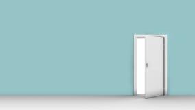 Illustration 3d der Wand mit geöffneter Tür Stockfoto