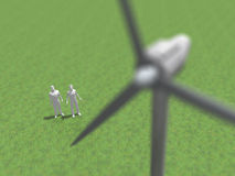Illustration 3D der Windenergiegeneration Lizenzfreie Stockfotografie
