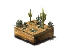 Illustration 3d des Abschnitts der Wüste, lokalisiert auf weißem Hintergrund Lizenzfreie Stockbilder