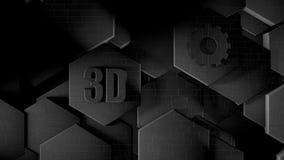 Illustration 3D des abstrakten futuristischen Hintergrundes von vielen verschiedenen Hexagonen, Bienenwabenmetall mit Kratzern un lizenzfreie abbildung