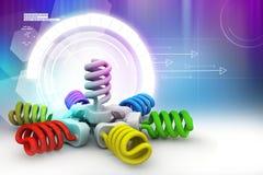 illustration 3d des ampoules colorées Images libres de droits