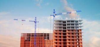 illustration 3D des bâtiments en construction Grues à tour Vue et briques illustration libre de droits