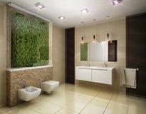 Illustration 3D des Badezimmers in den braunen Tönen Stockfotos