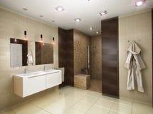 Illustration 3D des Badezimmers in den braunen Tönen Lizenzfreies Stockfoto