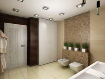 Illustration 3D des Badezimmers in den braunen Tönen Stockbilder