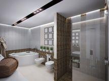 Illustration 3D des Badezimmers in der antiken Art Stockbilder
