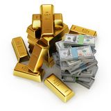 illustration 3d des barres d'or et des billets de banque du dollar Photo libre de droits