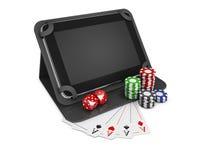 Illustration 3d des beweglichen on-line-Kasinos Poker-APP-on-line-Konzept Tablet mit Chips, Karten und Münzen Stockfotos