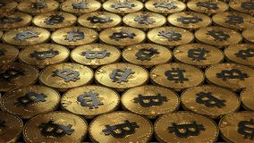 illustration 3D des bitcoins s'étendant sur la surface Images stock