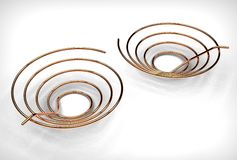 illustration 3d des bobines de cuivre de tuyau illustration stock