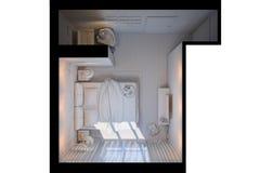 illustration 3d des chambres à coucher dans un style scandinave sans compagnon Photographie stock libre de droits