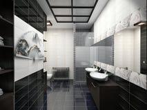 Illustration 3D des Designs eines Badezimmers in der Schwarzweiss-Farbe Stockfotografie