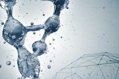 Illustration 3d des DNA-Molekülmodells vom Wasser Stockbilder