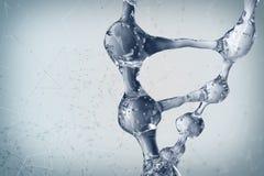 Illustration 3d des DNA-Molekülmodells vom Wasser Lizenzfreie Stockfotografie