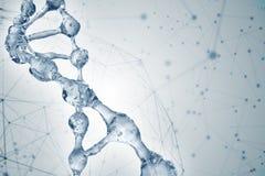 Illustration 3d des DNA-Molekülmodells vom Wasser lizenzfreie abbildung