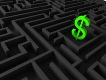 Illustration 3d des Dollars unterzeichnen herein Labyrinth Lizenzfreie Stockfotos