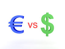 Illustration 3D des Euros gegen Dollar Stockfoto