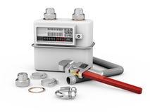 Illustration 3d des Gaszählers mit Werkzeugen lokalisierte Weiß Lizenzfreie Stockfotografie