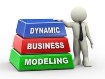 Mann 3d und dynamisches Geschäftsmodellieren lizenzfreie abbildung