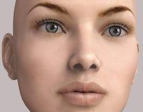 Illustration 3D des Gesichtes einer Frau lokalisiert Lizenzfreie Stockfotografie
