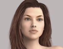Illustration 3D des Gesichtes einer Frau lokalisiert Stockfotografie