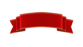 Illustration 3D des glänzenden roten Bandes mit Goldstreifen Stockfotografie