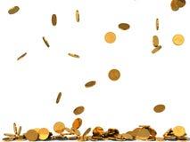 Illustration 3d des goldenen Münzenregens Stockfoto
