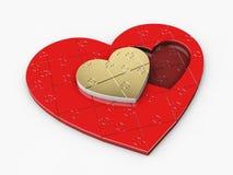 Illustration 3d des Goldes und der roten Herzen des Puzzlespiels stockbilder