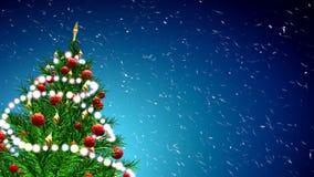 Illustration 3d des grünen Weihnachtsbaums über blauem Hintergrund mit Schneeflocken und roten Bällen Stockfotos