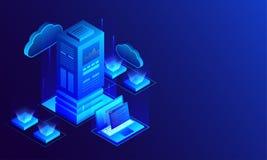 Illustration 3D des großen Datenservers angeschlossen mit Laptop und Standort stock abbildung