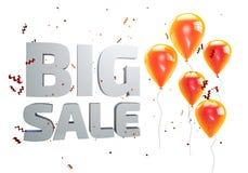Illustration 3D des großen Verkaufsplakats Verkaufsfahne mit Ballonen und Konfettis stock abbildung