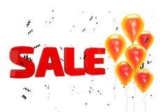 Illustration 3D des großen Verkaufsplakats Verkaufsfahne mit Ballonen und Konfettis Stockbilder