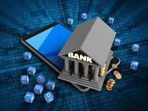 Illustration 3d des Handys über digitalem Hintergrund mit binären Würfeln und Bank Stockbilder